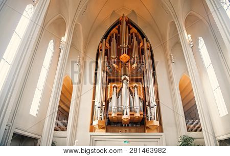Reykjavik, Iceland - October 12, 2017: Church Organ Flue Pipes. Pipe Organ In Cathedral Interior. Mu