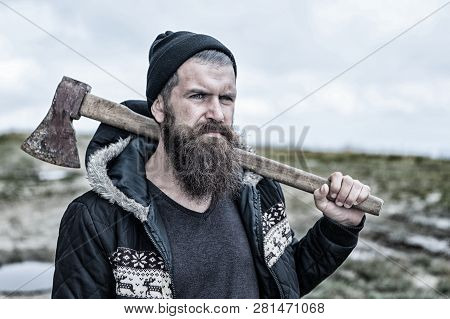 Lumberjack Man. Handsome Man Hipster Or Guy With Beard And Moustache On Serious Face In Hat And Jack