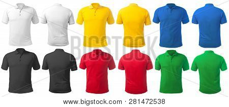 Blank Collared Shirt Mock Up Template, Front And Back View, Isolated On White, Plain T-shirt Mockup