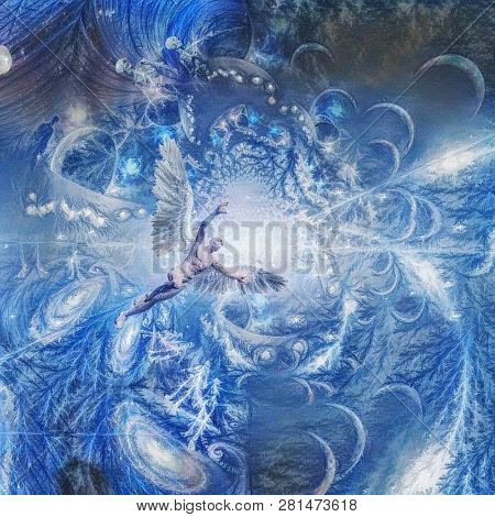 Angel in space tunnel. Abstract composition in blue colors. 3D rendering