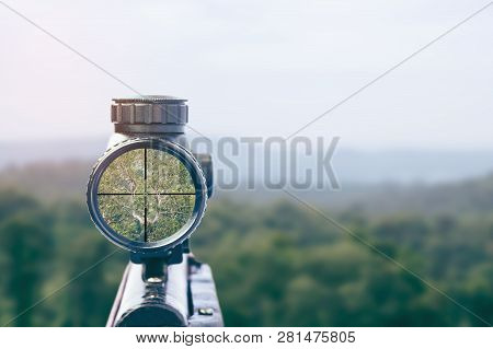rifle target view on Natural Background. Image of a rifle scope sight used for aiming with a weapon poster