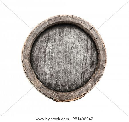Old barrel of brandy isolated on white background, included clipping path