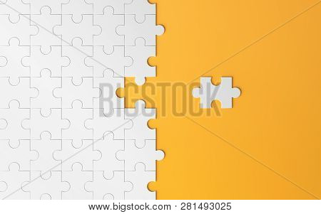 Jigsaw Puzzle, Pattern Texture With Space In Strategy And Solution Of Team Business Success Partners