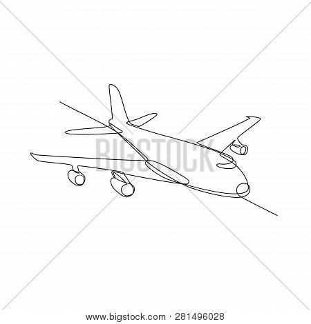Continuous Line Illustration Of Jumbo Jet Passenger Plane Airliner Or Airplane Flying In Full Flight