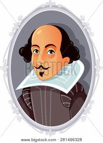 Author William Shakespeare Vector Portrait Caricature Illustration