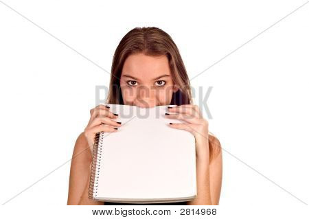 Model With Blank Pad Of Paper Biting It