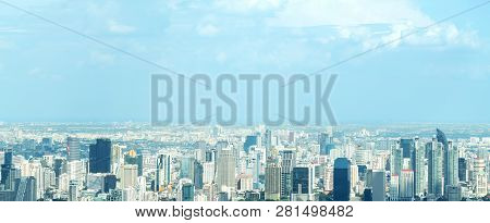 Banner Of Aerial View Cityscape Of Modern City In Bangkok. Urban Landscape Of Center Business Of Tha