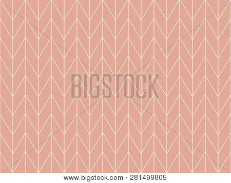 Beautiful Pastel Pink Background With White Triangle And Square Shape. Sweet Geometric Background In