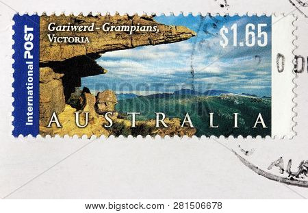 Luga, Russia - January 24, 2019: A Stamp Printed By Australia Shows View Of The Grampians National P