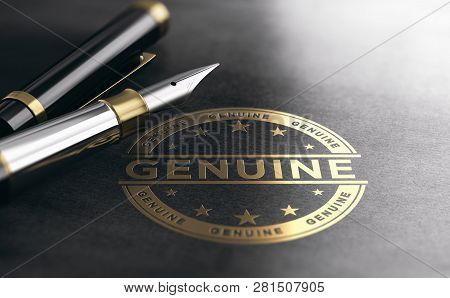 3d Illustration Of A Genuine Golden Stamp On Black Paper Background. Document Authentication Concept