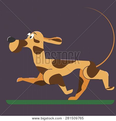 Cartoon Dog Runs. Flat Style. Spotted Hunting Dog With Large Black Nose.