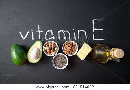 Natural Products Rich In Vitamin E And And Vitamin E. Helthcare Concept