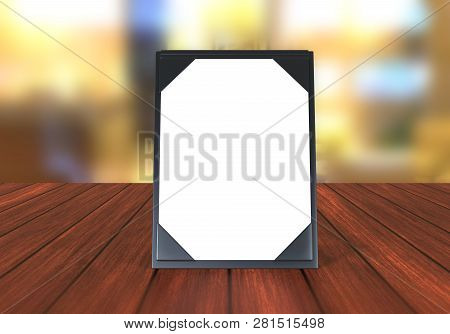 Blank table tent, table card mock up template for design uses, leatherette table tents for business meeting or restaurant menu,3d illustration poster