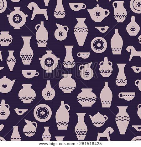 Vector Pottery Seamless Pattern - Greek Vase, Amphora, Antique Pitcher. Ceramics Or Pottery Bowl, Ur