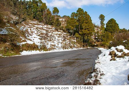 Scenic Road Through The Valley Of Banikhet Dalhousie Himachal Pradesh Covered With Snow Mountain And