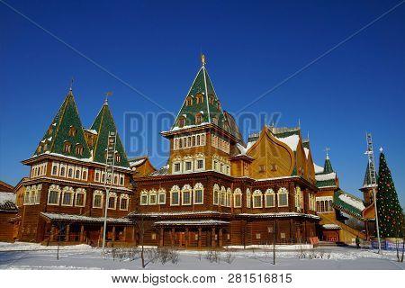 The Wooden Palace Of Tsar Alexei Mikhailovich In Kolomenskoye Park, Moscow, Russia.