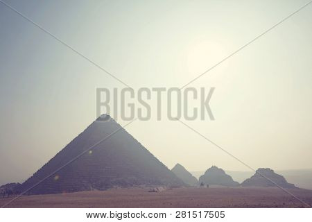View of the Pyramids of Giza, Great pyramids of Egypt.