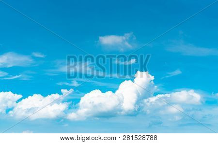 Beautiful Blue Sky And White Cumulus Clouds Abstract Background. Cloudscape Background.  Blue Sky An