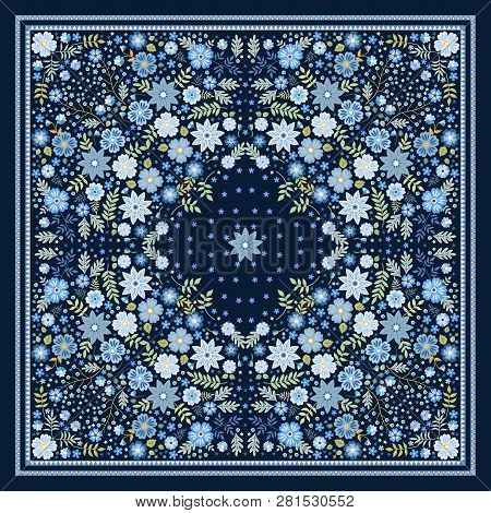 Beautiful Scarf With Blue Flowers. Lovely Tablecloth. Bandana Print. Pillowcase. Print For Fabric. K