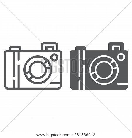 Camera Line And Glyph Icon, Lens And Photo, Photocamera Sign, Vector Graphics, A Linear Pattern On A