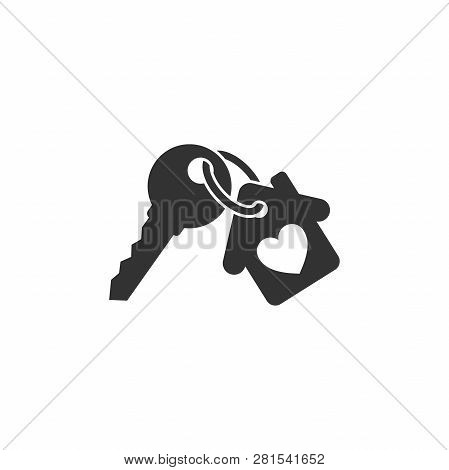 Keychain With Key Ring And A Pendant House Locket. Key Chain With House With Heart Locket Vector Ico