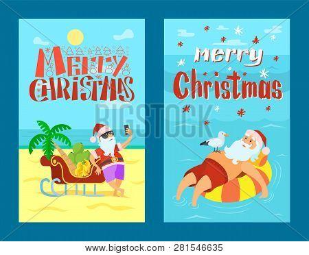 Merry Christmas, Santa Claus On Lifebuoy, Seagull. Vector Cartoon Character And Sleigh Full Of Banan
