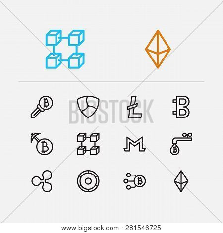 Crypto Currency Icons Set. Coin Faucet And Crypto Currency Icons With Monero, Litecoin And Ethereum.