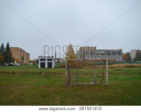 Old Football Goal On The Country Field In Autumn