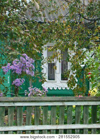 Beautiful Window Of Countryside House On Rainy Autumn Day