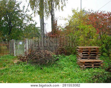 Rural Countryside Backyard Landscape On Rainy Autumn Day