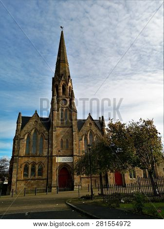 An Exterior View Of An Old Church Building In The Kinning Park Area Of Glasgow