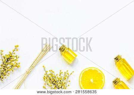 Natural Set With Organic Oil On White Background Top View Mockup