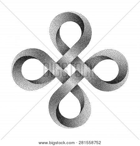 Stippled Bowen Cross Symbol. Ancient Celtic Sign Made Of Mobius Strip. Vector Textured Illustration