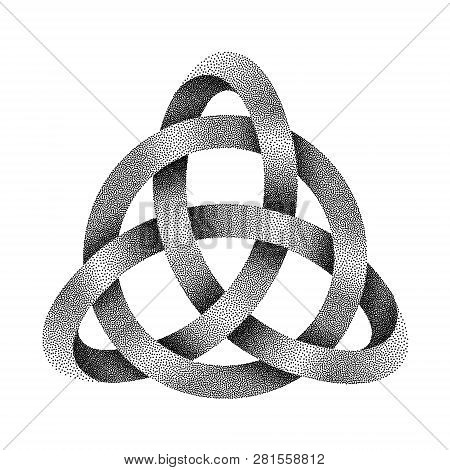 Stippled Knot Triquetra With Circle. Ancient Celtic Trinity Symbol Made Of Mobius Strip. Vector Text