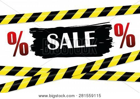 Sale Promotion With Yellow And Black Warning Tape Vector Illustration Eps10