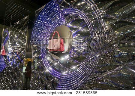 Honolulu - November 26, 2015:  Louis Vuitton Window Display With Led Lights In Display.  Louis Vuitt