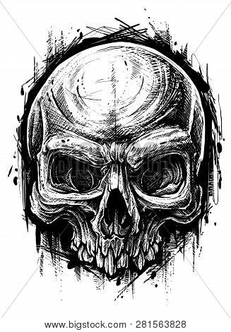 Detailed Graphic Hand Drawn Realistic Black And White Angry Human Skull. Trash Polka Style. On White