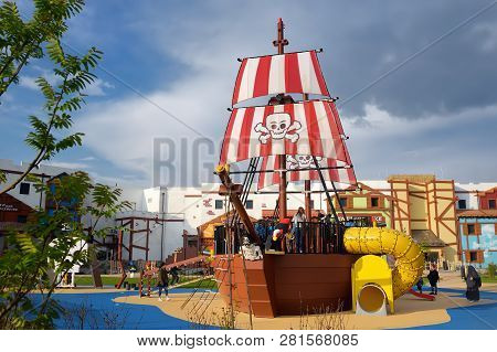 Gunzburg, Germany - May 15, 2018: The Child Playground With Pirate Ship In Legoland Deutschland At S