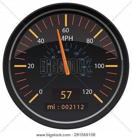 Mph Miles Per Hour Speedometer Odometer Automotive Dashboard Gauge Vector Illustration