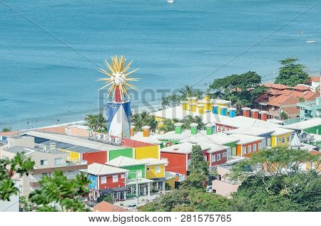 Bombinhas - Sc, Brazil - December 18, 2018: Colorful Seafront Hotel, Hotel Vila Do Farol. Hotel With
