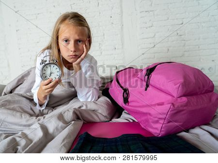 Cute Girl Feeling Very Tired Early In The Morning Not Wanting To Get Ready For School