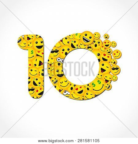 10 Th Years Old Congrats. Isolated Yellow Letter O Logotype. Abstract Web Graphic Symbol Of 10 %. Ve