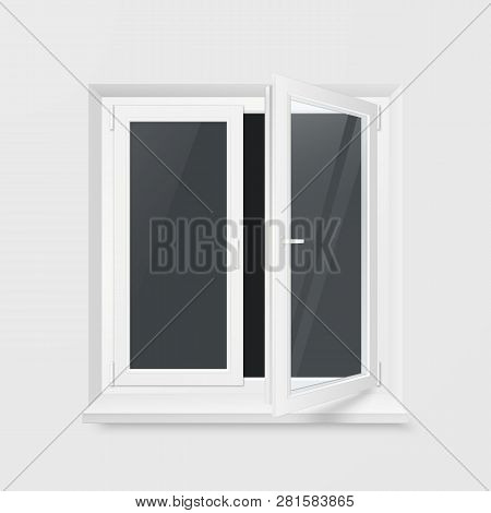 White Office Plastic Window. Window Front View. Transparent Glass. Vector Illustration Isolated On W