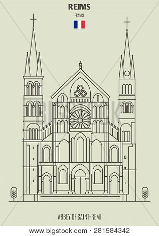 Abbey Of Saint-remi In Reims, France. Landmark Icon In Linear Style