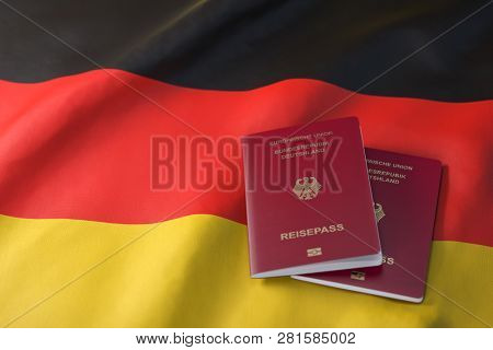 Passport of Germany on the flag of the Germany. Getting a Germnay passport,  naturalization and immigration concept. 3d illustration