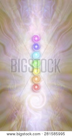 Kundalini Stack Of Spiralling Chakras - Against A Pink Gold Radiating Ethereal Energy Field Seven Ra