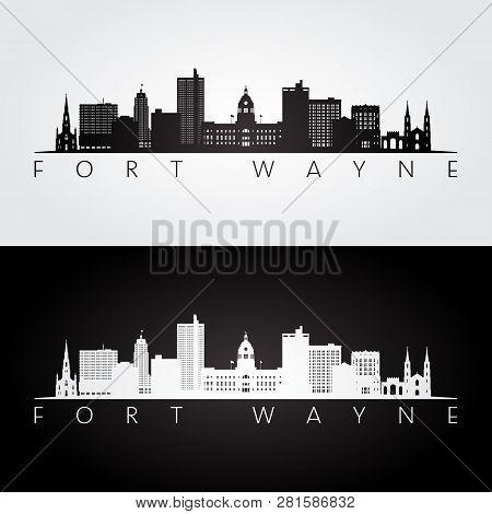 Fort Wayne Usa Skyline And Landmarks Silhouette, Black And White Design, Vector Illustration.