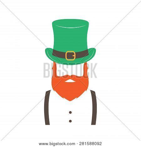 Stylish Irishman With Ginger Beard Wearing Hat. Happy St. Patricks Day. Hipster Emblem. Vector Illus