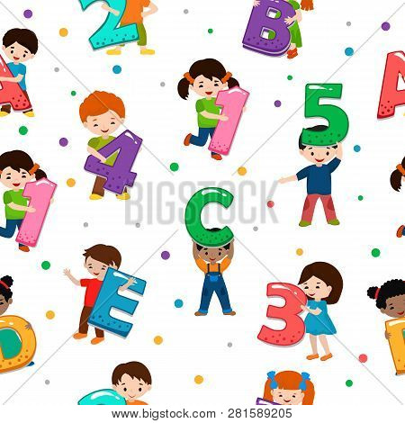 Kids Alphabet Vector Children Font And Boy Or Girl Character Holding Alphabetic Letter Or Number Ill