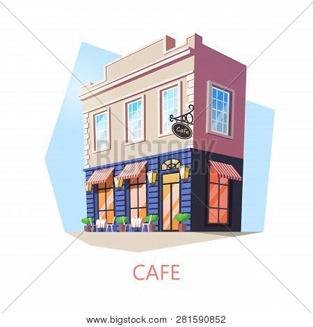 Exterior View On Isometric Cafe Building. Outdoor View On Cafeteria Or Food And Drink Shop Or Store.